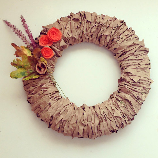 Crafting with paper bags - Fall paper bag wreath