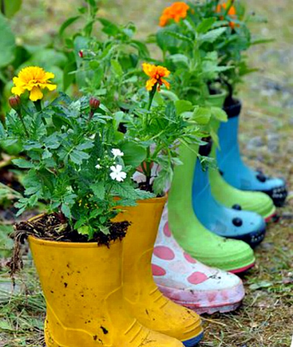 flowers planted into rubber boots