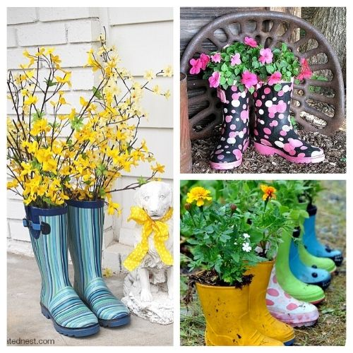 10 Adorable Rain Boot Planter Ideas- These DIY rain boot planter ideas are a cute way to decorate for spring, and a great idea for repurposing old or out grown rubber boots! | #rainBoots #diyPlanter #flowerGardening #springDecorating #ACultivatedNest