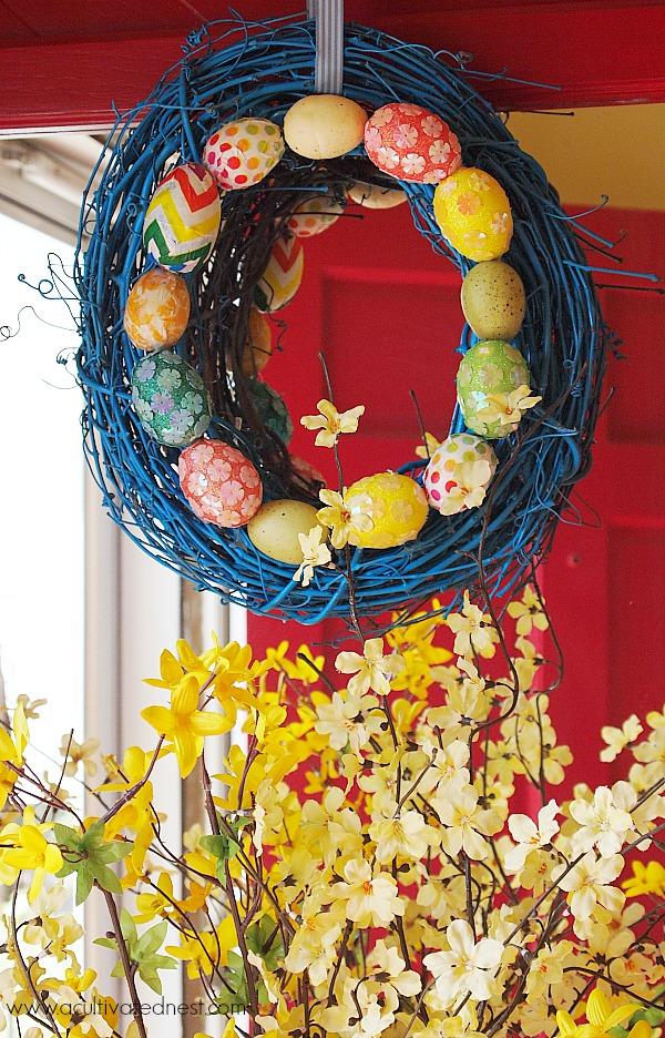 DIY Spring Easter egg wreath