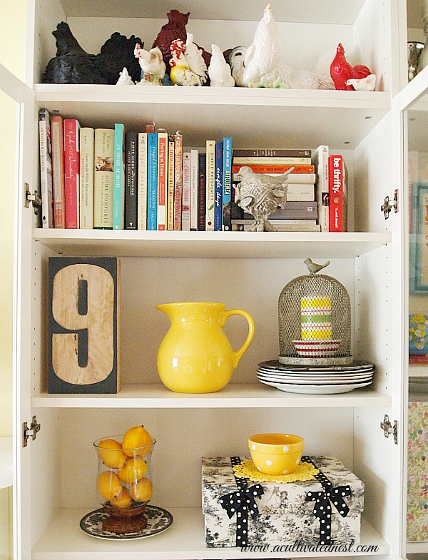 yellow accents in a bookcase