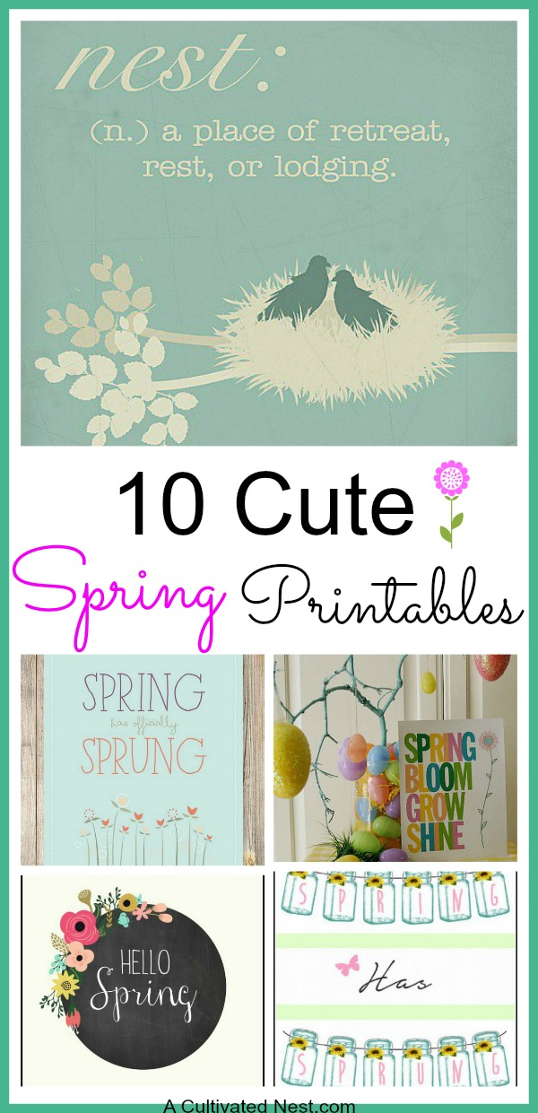 10 Cute Free Spring Printables- Decorate your home for spring on a budget with these 10 beautiful free printable spring wall art prints! | spring wall art decor, Easter wall art, #freePrintable #spring #wallArt #ACultivatedNest