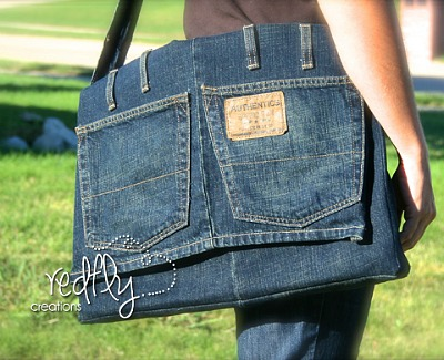 denim satchel or messenger bag by Redfly Creations