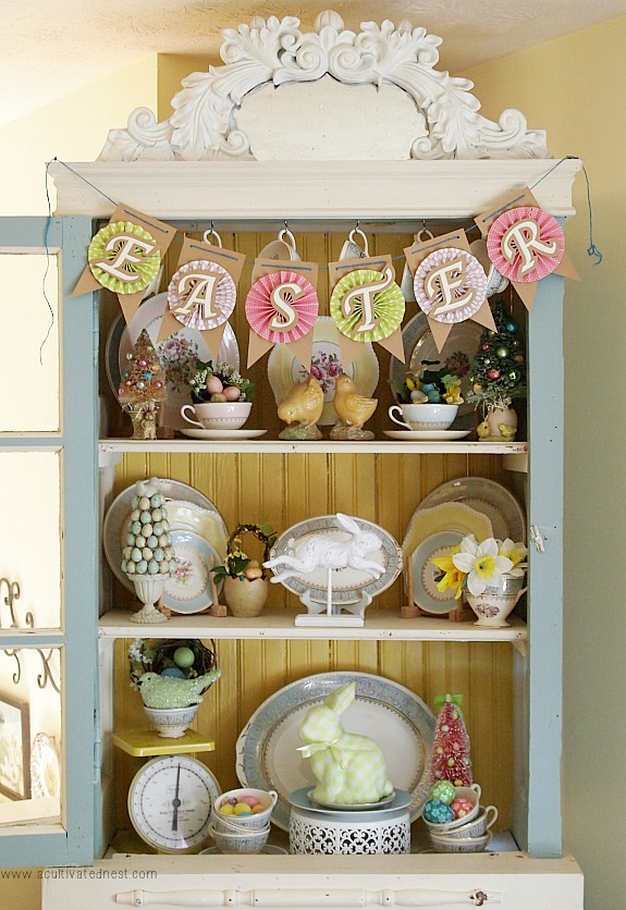 easter decorating ideas for a china cabinet - Easter Decorating Ideas