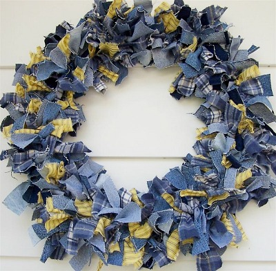 Denim rag wreath by Zoey Quilts
