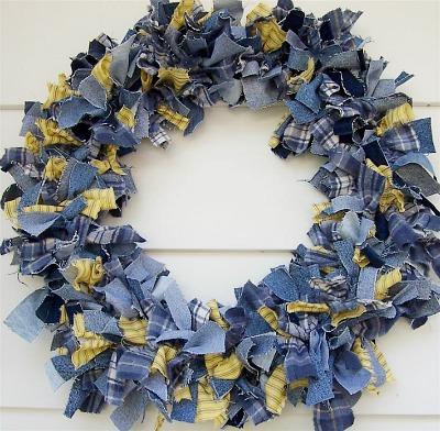 Denim rag wreath by Zoey Quilts