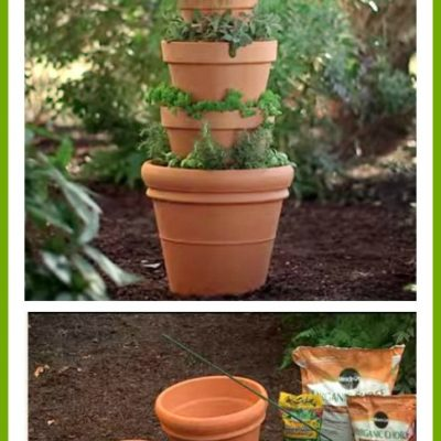 Terracotta pot herb tower by Home Depot