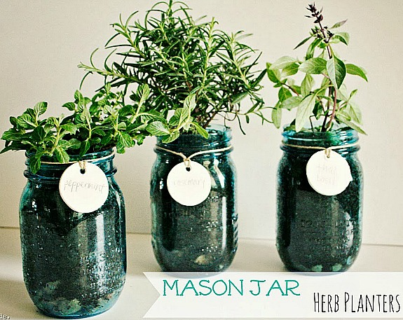 Mason Jar Herb Planter Homemade Gift- Forget the lines this year, these 10 Pretty Mother's Day Gifts Using Jars will warm mom's heart. They're easy to make, and are gifts she's sure to love! | Mother's Day gift ideas, #mothersDay #diyGifts #homemadeGifts #masonJarGifts #ACultivatedNest