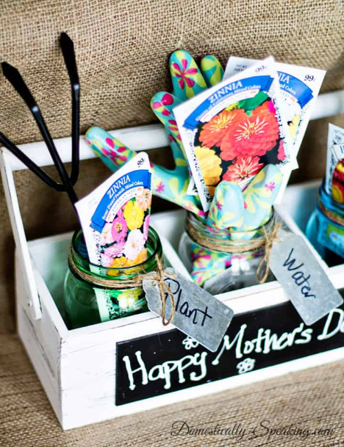 Mason Jar Gardening Gift Set- Forget the lines this year, these 10 Pretty Mother's Day Gifts Using Jars will warm mom's heart. They're easy to make, and are gifts she's sure to love! | Mother's Day gift ideas, #mothersDay #diyGifts #homemadeGifts #masonJarGifts #ACultivatedNest