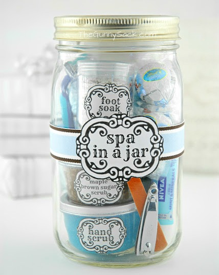 Spa in a Jar Mother's Day DIY Gift- Forget the lines this year, these 10 Pretty Mother's Day Gifts Using Jars will warm mom's heart. They're easy to make, and are gifts she's sure to love! | Mother's Day gift ideas, #mothersDay #diyGifts #homemadeGifts #masonJarGifts #ACultivatedNest