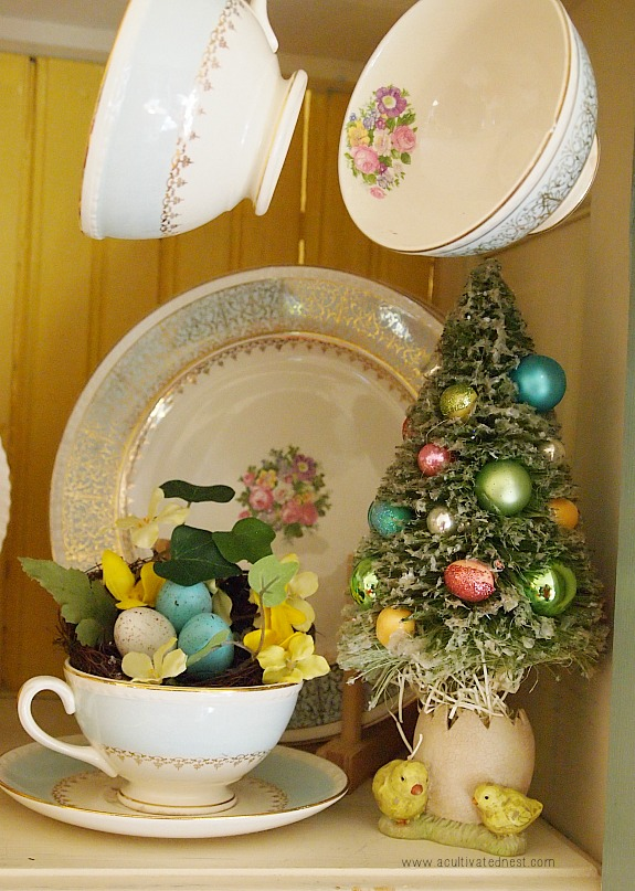 Easter Decorating Ideas: Easter bottlebrush tree and blue plates