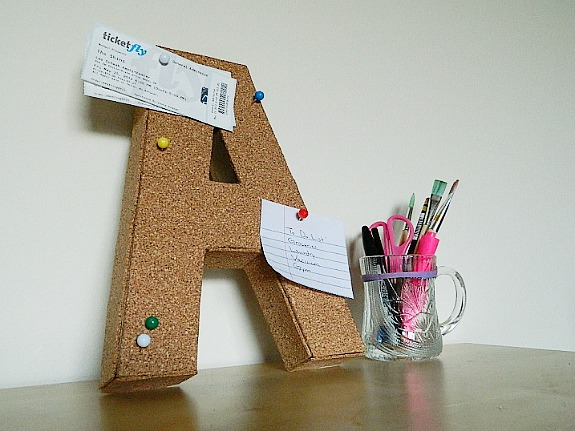 corkboard covered craft letter