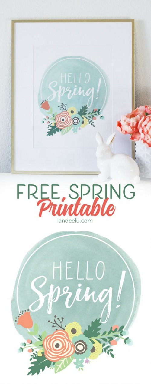 Hello Spring Free Printable- These 10 spring wall art prints are an easy (and inexpensive) way to get your home ready for spring! | spring decor, spring art prints, Easter decor, Easter art prints, #freePrintables #wallArt #spring #ACultivatedNest