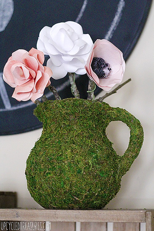 DIY moss covered pitcher by Upcycled Treasures