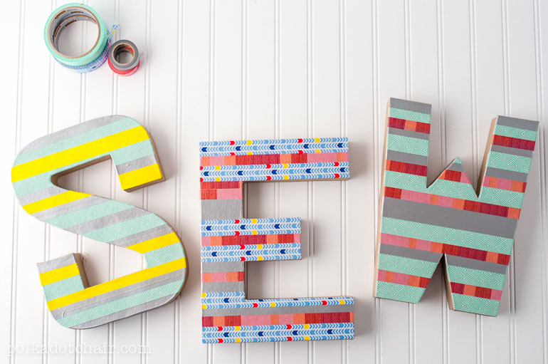 washi tape covered craft letters