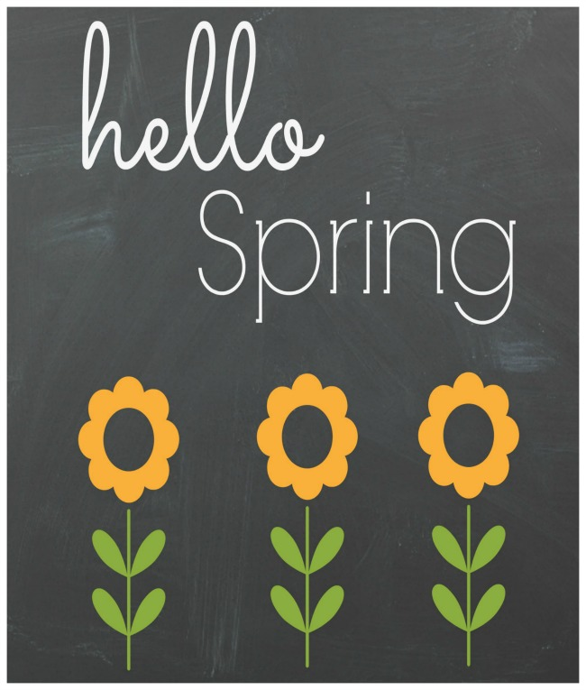 Hello Spring Chalkboard Free Printable- These 10 spring wall art prints are an easy (and inexpensive) way to get your home ready for spring! | spring decor, spring art prints, Easter decor, Easter art prints, #freePrintables #wallArt #spring #ACultivatedNest