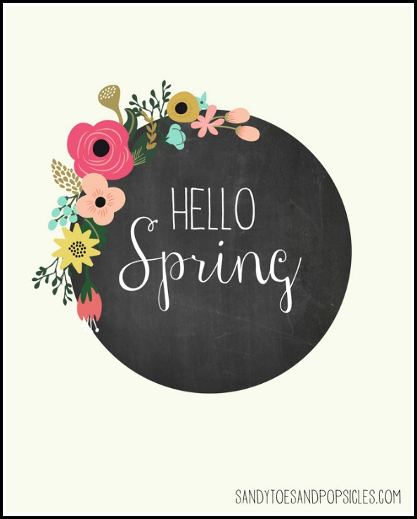 10 free spring printables - Hello Spring printable by Sandy Toes & Popsicles