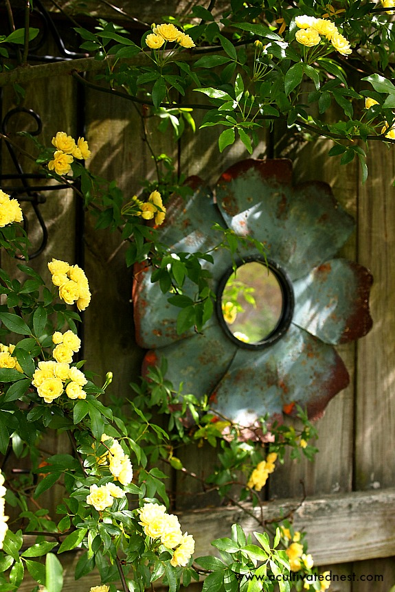 Yellow Lady Banks Rose & tin flower mirror