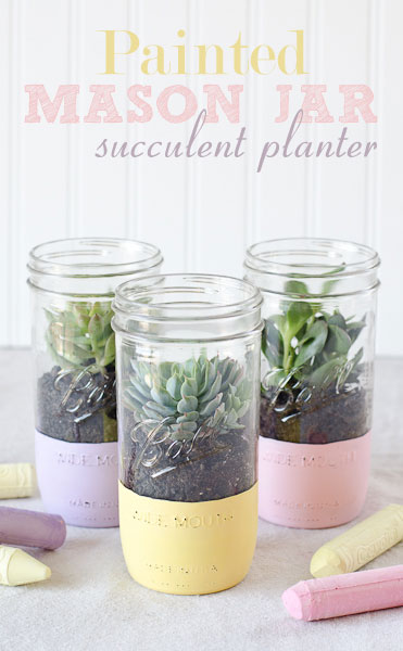 Painted Mason Jar Succulent Planter- Forget the lines this year, these 10 Pretty Mother's Day Gifts Using Jars will warm mom's heart. They're easy to make, and are gifts she's sure to love! | Mother's Day gift ideas, #mothersDay #diyGifts #homemadeGifts #masonJarGifts #ACultivatedNest