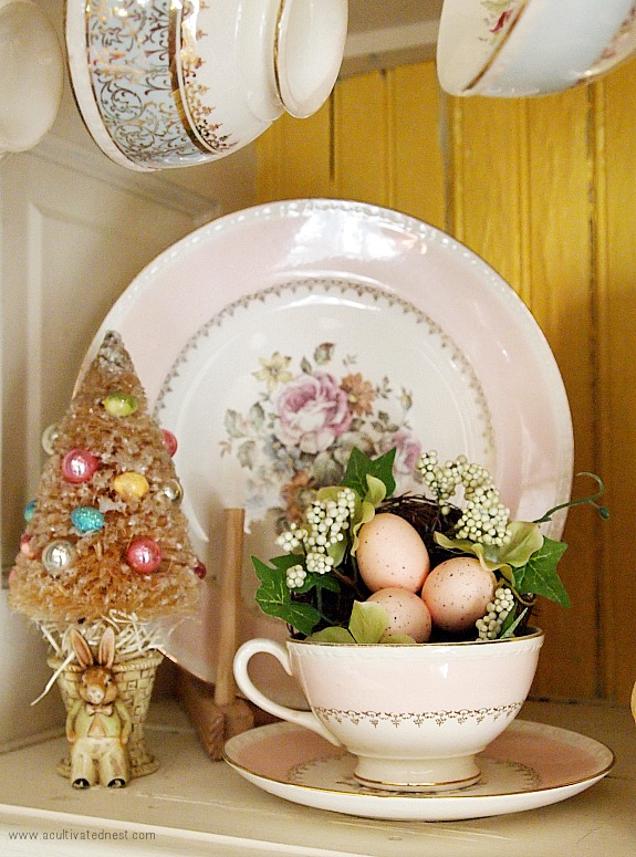Easter bottlebrush tree and pink plates