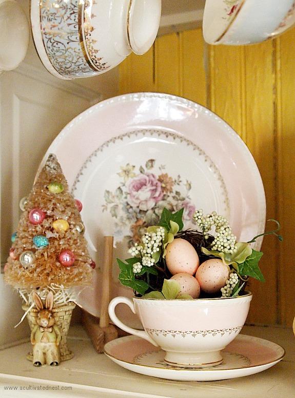 Easter bottlebrush tree and pink plates
