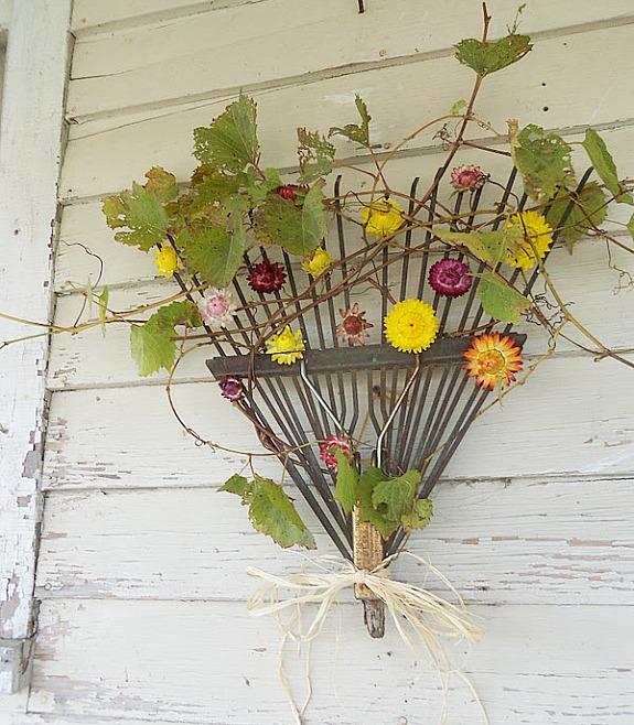 rake made into a wreath