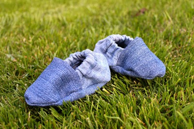 recycled denim baby shoes by Pretty Prudent