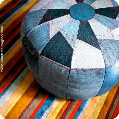 Recycled DIY denim pouf by Michele Made Me