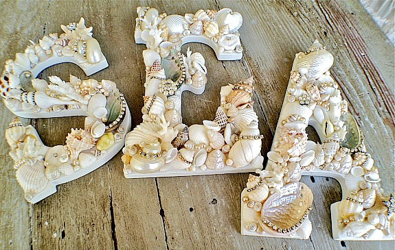 sea shell covered letters