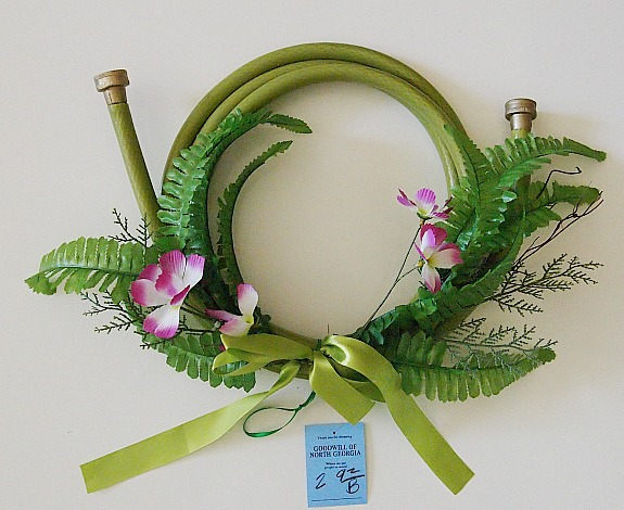 thrifted garden hose wreath