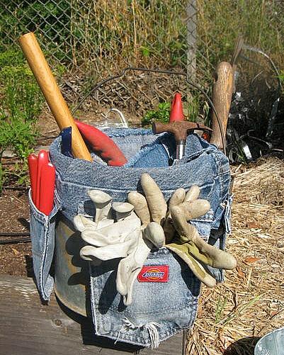 upcycled denim garden tool bucket caddy