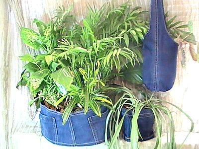 Upcycled denim plant hanger