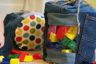 Upcycled denim toy holder by Handmade by Meg K