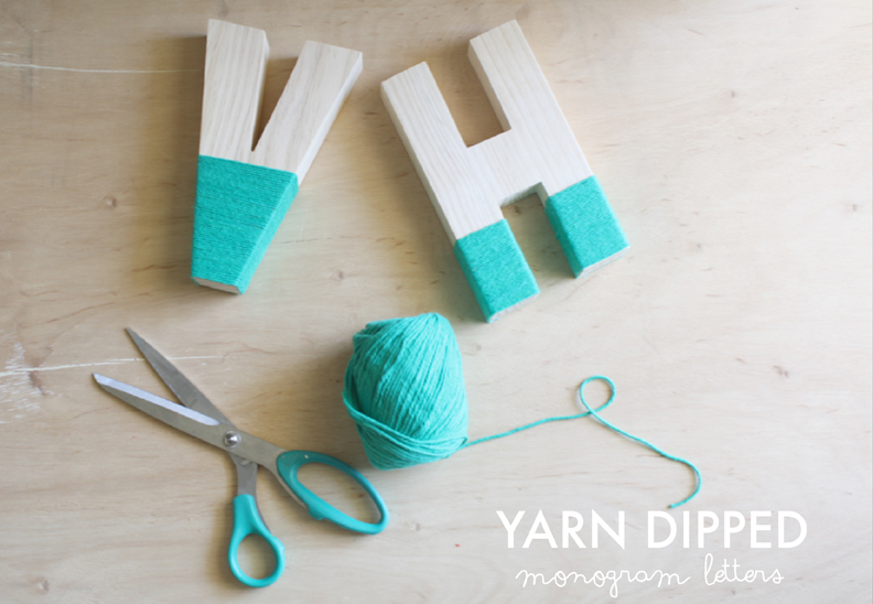 yarn wrapped wooden letters