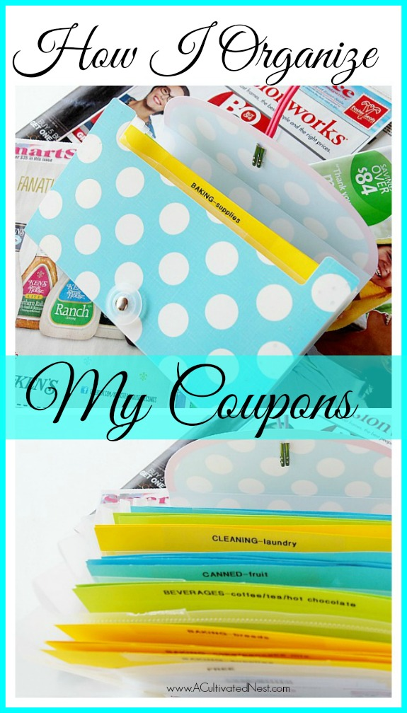 Organizing system for coupons using an according file