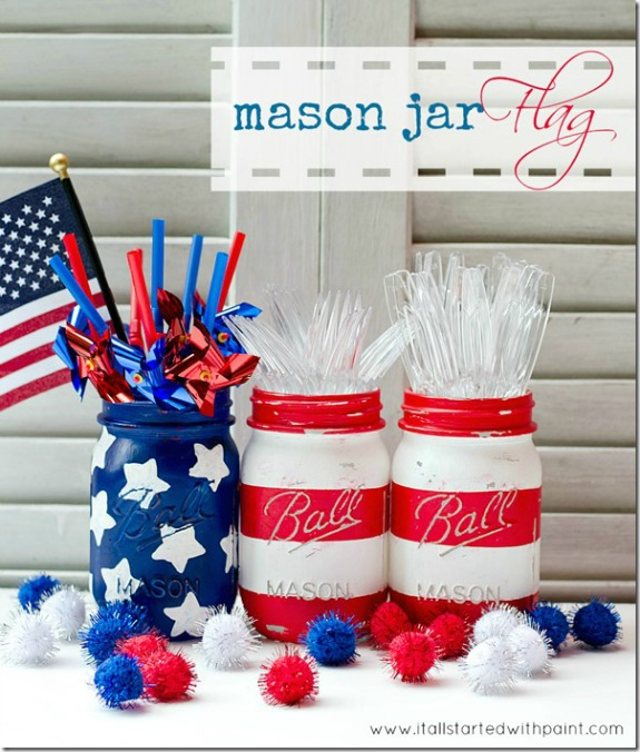 11 Cute DIY Patriotic Decoraing Ideas: mason jar flag by It All Started With Paint