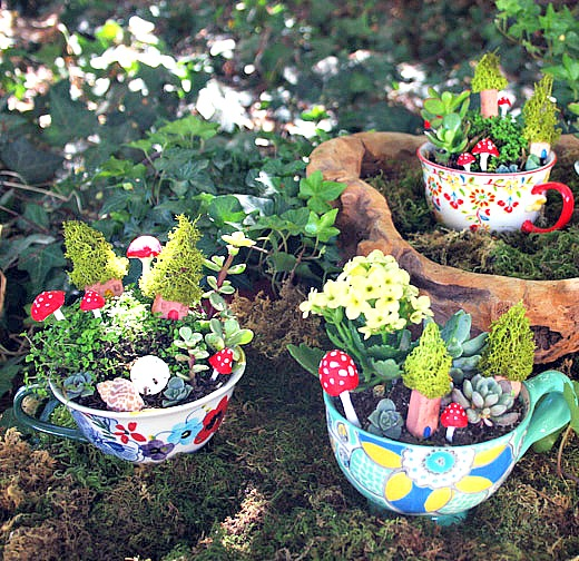 Mini teacup garden by Camp Makery