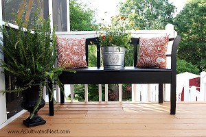 Painted Bench Makeover For The Deck