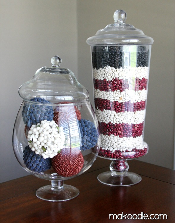 11 Cute Patriotic Decorating Ideas: Patriotic apothecary jars by  Makoodle