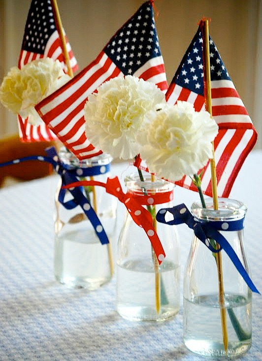 patriotic flower centerpiece by Heritage Schoolhouse