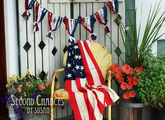 Patriotic fabric bunting by Second Chances by Susan