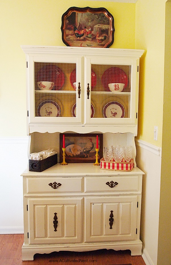 cottage style white china cabinet