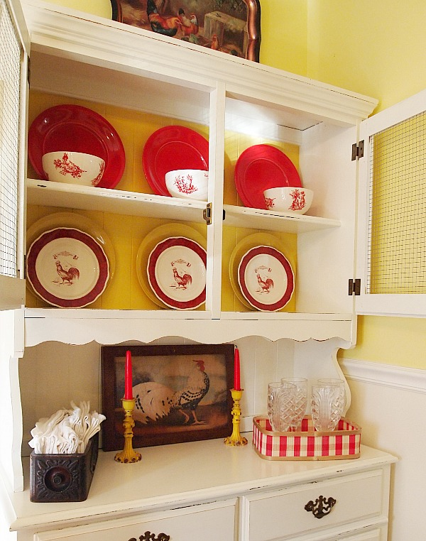 cottagey china cabinet with Country Living Rooster plates