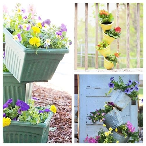 10 Amazing Flower Towers or Tipsy Pot Planters Ideas- These 10 DIY flower towers and tipsy pot planters are stunning ways to add vertical interest to your garden, porch, or front entry! | #tipsyPot #flowerTower #DIY #gardening #ACultivatedNest
