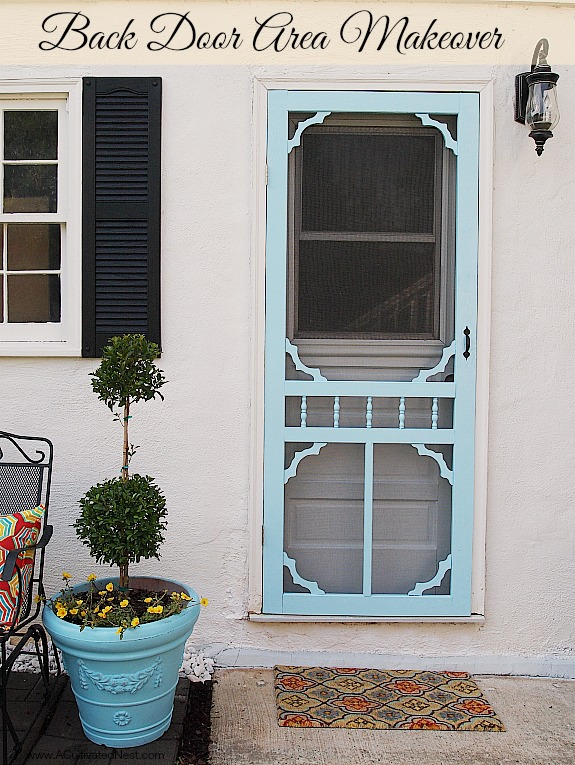 Beautiful back door area makeover with lots of budget friendly ideas!