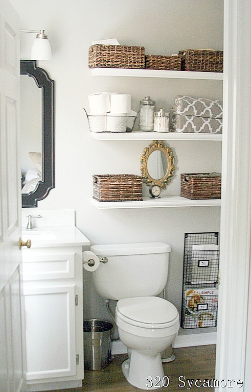 small bathroom shelves white 11 fantastic small bathroom organizing ideas a cultivated 20488