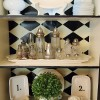 black china cabinet with black & white accessories
