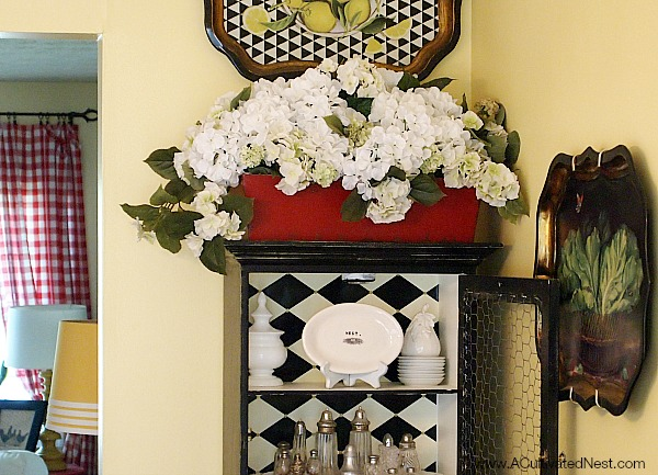 black and white china cabinet