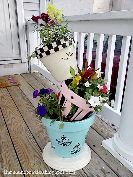 colorful tipsy pots by Tiaras & Bowties (flower tower roundup)