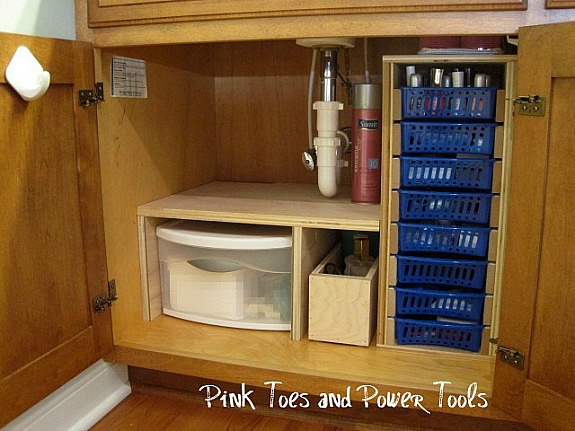 Custom DIY under cabinet bathroom storage